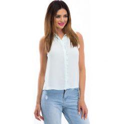 Bluzki asymetryczne: Miętowa bluzka z falbanką 100