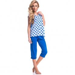 Piżama w kolorze biało-niebieskim - t-shirt, spodnie. Białe piżamy damskie Doctor Nap, s, w kropki. W wyprzedaży za 67,95 zł.