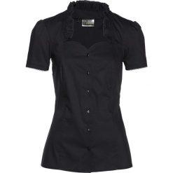 Bluzka w rustykalnym stylu bonprix czarny. Czarne bluzki koronkowe marki bonprix, z falbankami. Za 59,99 zł.