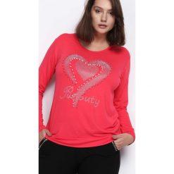 Koralowa Bluzka Girls Night Out. Pomarańczowe bluzki longsleeves Born2be, xl, z aplikacjami, z okrągłym kołnierzem. Za 34,99 zł.
