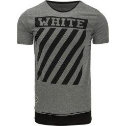 T-shirty męskie z nadrukiem: T-shirt męski z nadrukiem antracytowy (rx2176)