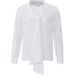 Bluzka z krawatką w groszki bonprix biel wełny - czarny w groszki. Białe bluzki z odkrytymi ramionami marki bonprix, w grochy, z wełny, z dekoltem w serek. Za 74,99 zł.