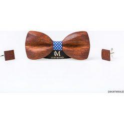 Zestaw drewniana mucha i spinki MORPHO merbau. Szare spinki do krawatów marki Mayoral, l, z bawełny, z klasycznym kołnierzykiem. Za 370,00 zł.