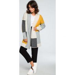 Geometryczny sweter kardigan bk011. Szare kardigany damskie BEE. Za 129,00 zł.