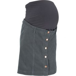 Spódnica sztruksowa ciążowa bonprix antracytowy. Szare spódnice ciążowe marki bonprix, ze sztruksu, moda ciążowa, dopasowane. Za 99,99 zł.