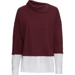 Sweter z koszulową wstawką bonprix ciemny jeżynowy. Fioletowe swetry klasyczne damskie marki bonprix, z koszulowym kołnierzykiem. Za 79,99 zł.