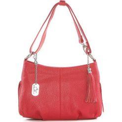 Torebki klasyczne damskie: Skórzana torebka w kolorze czerwonym - 30 x 20 x 8 cm