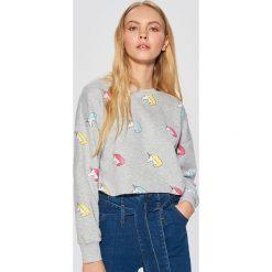 Krótka bluza w jednorożce - Jasny szary. Szare bluzy damskie marki Cropp, l, z krótkim rękawem, krótkie. Za 69,99 zł.