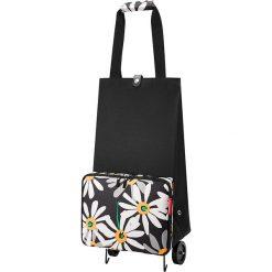 Shopper bag damskie: Wózek zakupowy w kolorze czarno-białym – 29 x 66 x 27 cm