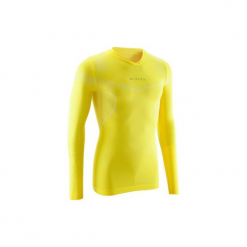 Koszulka termoaktywna długi rękaw dla dorosłych Kipsta Keepdry 500. Czarne odzież termoaktywna męska marki KIPSTA, m, z elastanu, z długim rękawem, na fitness i siłownię. Za 49,99 zł.