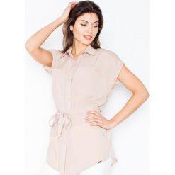 Bluzki, topy, tuniki: Beżowa Koszulowa Tunika z Krótkim Rękawem z Wiązanym Paskiem