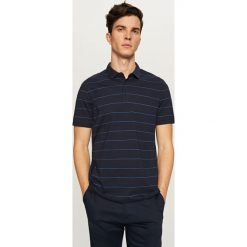 Koszule męskie na spinki: Koszula polo w paski – Granatowy