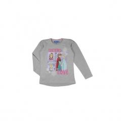 Bluzka dziewczęca z printem, we wzory Kraina Lodu - Frozen standardowa. Szare bluzki dziewczęce TXM, z motywem z bajki. Za 19,99 zł.
