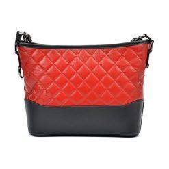 Torebki klasyczne damskie: Skórzana torebka w kolorze czerwono-czarnym – (S)22,5 x (W)34 x (G)8,5 cm