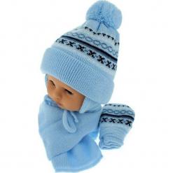 Czapka niemowlęca z szalikiem i rękawiczkami CZ+S+R 013D. Niebieskie czapeczki niemowlęce Proman. Za 45,90 zł.