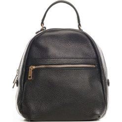 Plecaki damskie: Skórzany plecak w kolorze czarnym – 27 x 34 x 12 cm