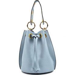 Torebki klasyczne damskie: Skórzana torebka w kolorze błękitnym – (S)17 x (W)20,5 x (G)16 cm