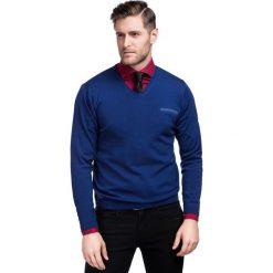 Sweter Dario SWN000019. Niebieskie swetry klasyczne męskie Giacomo Conti, na jesień, m, z materiału, z klasycznym kołnierzykiem. Za 229,00 zł.