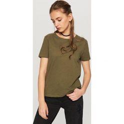 Koszulka z bawełny organicznej - Khaki. Brązowe t-shirty damskie Reserved, l, z bawełny. Za 24,99 zł.