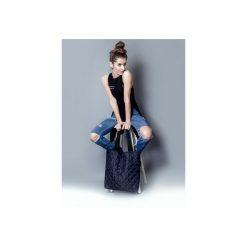 Torba granatowe  pikowanie. Niebieskie torebki klasyczne damskie drops, z bawełny, pikowane. Za 95,00 zł.