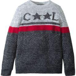 Sweter dzianinowy w gwiazdy bonprix szary melanż- biel wełny wzorzysty. Szare swetry chłopięce marki bonprix, m, melanż, z dzianiny, z klasycznym kołnierzykiem. Za 32,99 zł.