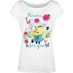 Minions Flowers Koszulka damska biały. Białe bluzki nietoperze Minions, xxl, z nadrukiem, z dekoltem w łódkę. Za 79,90 zł.