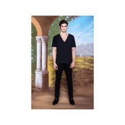 Rurki męskie: Czarne spodnie slim fit z dwóch rodzajów sztruksu – wersja 2