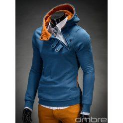 BLUZA MĘSKA Z KAPTUREM PACO - GRANATOWO-RUDA. Brązowe bluzy męskie rozpinane marki Ombre Clothing, m, z bawełny, z kapturem. Za 69,00 zł.