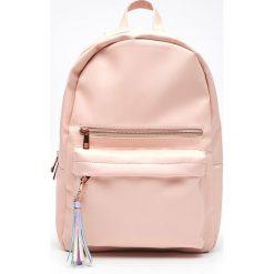 Plecaki damskie: Plecak z eko skóry z kontrastową podszewk - Różowy