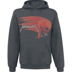 Bluzy męskie: Metallica Flaming Skull Bluza z kapturem ciemnoszary
