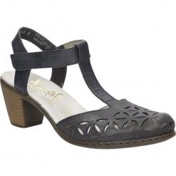 Sandały ażurowe Rieker 40995. Czarne sandały damskie marki Rieker, z materiału. Za 179,99 zł.
