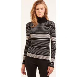 Golfy damskie: Sweter w kolorze czarno-kremowym