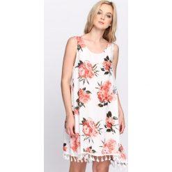 Sukienki: Biało-Pomarańczowa Sukienka It's Up To You