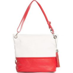 Torebki klasyczne damskie: Skórzana torebka w kolorze czerwono-białym – 35 x 50 x 12 cm