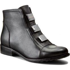 Botki EKSBUT - 3558-155-1G Czarny Nie. Czarne buty zimowe damskie Eksbut, z gumy, za kostkę, na obcasie, na sznurówki. W wyprzedaży za 249,00 zł.