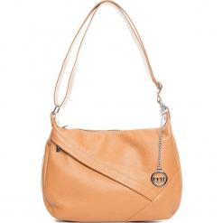 Skórzana torebka w kolorze jasnobrązowym - 29 x 24 x 10 cm. Brązowe torebki klasyczne damskie Mia Tomazzi, w paski, z materiału. W wyprzedaży za 272,95 zł.