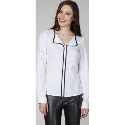Bluzki asymetryczne: Biała Elegancka Bluzka z Kontrastową Lamówką