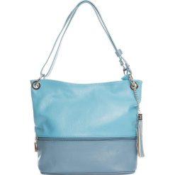 Torebki klasyczne damskie: Skórzana torebka w kolorze błękitnym – 35 x 50 x 12 cm
