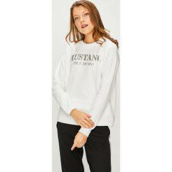 Mustang - Bluza. Szare bluzy z nadrukiem damskie marki Mustang, l, z bawełny, bez kaptura. W wyprzedaży za 159,90 zł.
