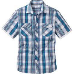 Koszula z krótkim rękawem Regular Fit bonprix biały w kratę. Białe koszule męskie marki bonprix, z klasycznym kołnierzykiem, z długim rękawem. Za 74,99 zł.
