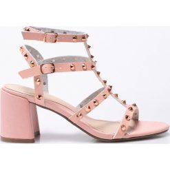 Missguided - Sandały. Szare sandały damskie na słupku marki Missguided, z materiału. W wyprzedaży za 99,90 zł.