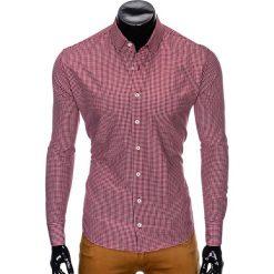 Koszule męskie: KOSZULA MĘSKA Z DŁUGIM RĘKAWEM K426 – BORDOWA/BIAŁA