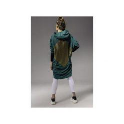 ZIELONY PŁASZCZ WELUROWY. Zielone płaszcze damskie Skalny, na jesień, z elastanu. Za 599,00 zł.