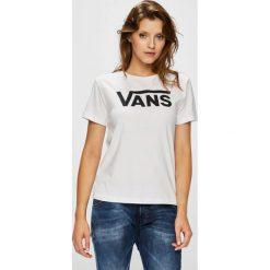 Vans - Top. Szare topy damskie Vans, l, z nadrukiem, z bawełny, z okrągłym kołnierzem. W wyprzedaży za 99,90 zł.