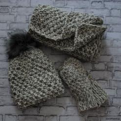 Komplet melanż ryż czapka + szalik+ rękawiczki. Szare czapki zimowe damskie Pakamera, z wełny. Za 265,00 zł.