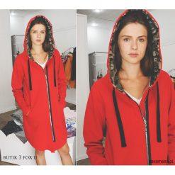 EveryDay red Coat Bluza długa asymetryczna+moro. Czerwone bluzy rozpinane damskie Pakamera, l, moro, z długim rękawem, długie. Za 259,00 zł.