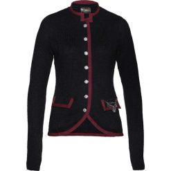Sweter rozpinany ludowy z domieszką wełny bonprix antracytowo-czerwony klonowy. Szare golfy damskie marki bonprix, z materiału. Za 124,99 zł.