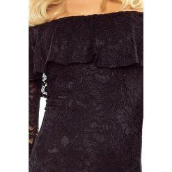 Luisa Sukienka koronkowa - hiszpanka z długim rękawkiem - CZARNA. Szare sukienki hiszpanki marki Molly.pl, l, w koronkowe wzory, z koronki, eleganckie, z dekoltem typu hiszpanka, z krótkim rękawem, midi, dopasowane. Za 229,99 zł.