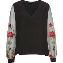 Bluzka z haftem bonprix czarny. Czarne bluzki z odkrytymi ramionami marki bonprix, z haftami, z dekoltem w serek. Za 129,99 zł.