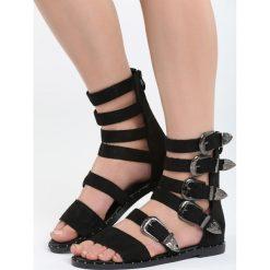 Czarne Zamszowe Sandały Healing. Czarne sandały damskie marki Born2be, z materiału, na obcasie. Za 109,99 zł.